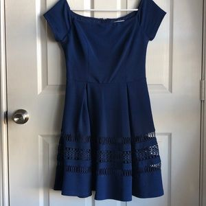Francesca's Navy Blue Flare Dress